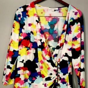 Ellen Tracy Women Blouse Multi Abstract Asymmetric